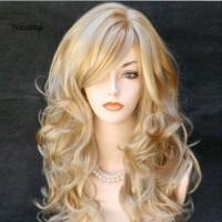 Wig / Rambut Palsu Wanita Model Panjang Keriting Warna Gold Untuk