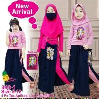 Baju Muslim Anak Little Pineapple LOL LED Pink Celana Rok Plisket