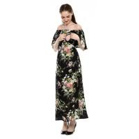 Justmom Baju Hamil dan menyusui MAZAYA MZ102 black floral