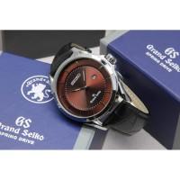 Jam tangan pria seiko tali strap kulit diameter 4,5cm paket box