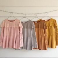 Baju wanita atasan mingkeleungko seudu bahan renda 4 warna pilihan