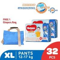 Huggies Dry Pants Popok Celana XL 32 2 Pack Free Diaper Bag