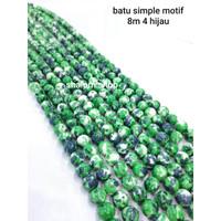 Batu Simple Motif 8m 4 Hijau/Beads Bahan Kalung Gelang Handmade