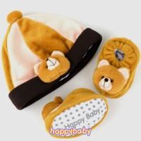 Paket Sepatu Bayi dan Topi Newborn Happy Baby Karakter LEB-Bear