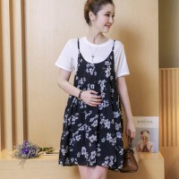 Setelan Dress dengan Rok Midi Motif Bunga untuk Ibu Hamil