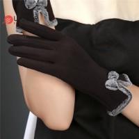 Sarung Tangan Wanita Bahan Wol Hias Pita Domba Touch Screen untuk