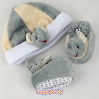 Paket Sepatu Bayi dan Topi Newborn Happy Baby Karakter LEB-Elephant