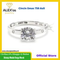 Cincin emas putih perhiasan emas 750-75% Asli ALEXas750 Rg13 015