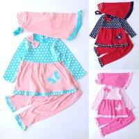 Baju Muslim Anak Bayi Perempuan Kaos Polkadot Kupu-kupu Jilbab