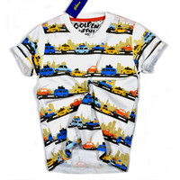 Tshirt Anak Printed - Printed Tee Anak Motif Lucu - Motif Vehicles, Size 6
