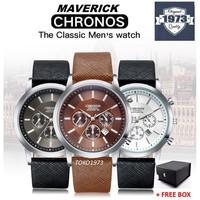 CHRONOS MAVERICK - Jam tangan kulit mewah pria arloji pria FREE BOX