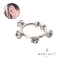 cocoa jewelry Anting Jepit Wanita Korea - Vintage Bowling Ear Cuff Sil