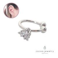 cocoa jewelry Anting Jepit Wanita Korea - Fiona Small Ear Cuff Silver