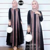 Baju Wanita Dress Gamis Turkey 1036 Bahan Jersey Super Mix Ceruty