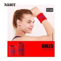 Aolikes 0235 Cotton Sweat Wrist band - Gym Fitness Tennis Run RED