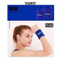 Aolikes 0235 Cotton Sweat Wrist band - Gym Fitness Tennis Run BLUE