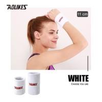 Aolikes 0235 Cotton Sweat Wrist band - Gym Fitness Tennis Run White