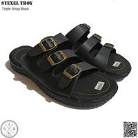 STEXEL TROY Black Triple Strap Sandal Casual Classic Size Jumbo