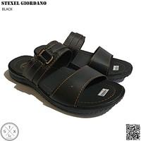 STEXEL GIORDANO Black Sandal Casual Double Strap Sole Pressed Premium