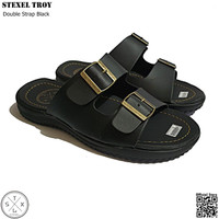 STEXEL TROY Black Double Strap Sandal Casual Classic Size Jumbo