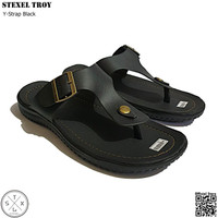 STEXEL TROY Black Y-Strap/Jepit Sandal Casual Classic Size Jumbo