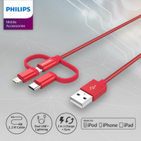Philips DLC4540 Kabel 3 in 1 USB C + Lightning + Micro USB Braid Merah
