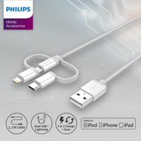 Philips DLC4540 Kabel 3 in 1 USB C + Lightning + Micro USB Braid Putih