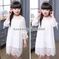 Dress Anak Import Bahan Tile Brokat Putih Lengan Panjang 3-10 Tahun