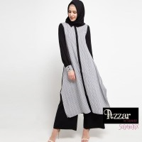 AZZAR Vivian Maxi Dress in Grey Stripes