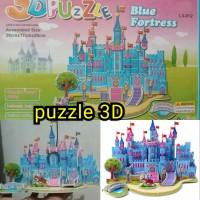mainan edukasi anak puzzle 3D istana biru