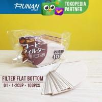 Paper Filter Flat Bottom 01 1-2 cup 100pcs - Coffee Filter Kopi Kalita