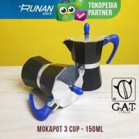 Moka Pot 3 cup 150ml Italy Mokapot GAT Hitam Espresso Maker
