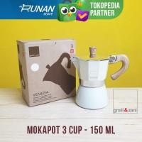 Mokapot 150ml 3 cup Italy Gnali & Zani Moka Pot 150 ml Putih Cream