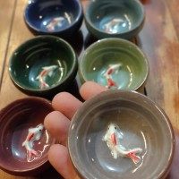 Rainbow Ceramic Chinese Tea Cups with Fish