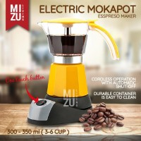 BRILLANTE Electric Moka Pot 6 Cups 300mL Teko Italian Espresso Listrik - Merah