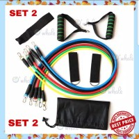 Resistance Band Bands Tube Tubes Set Alat Fitness Portable Workout Gym