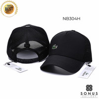 TOPI BASEBALL TRUCKER LACOSTE IMPORT FASHION | HIGH QUALITY BORDIR LC1 - Hitam