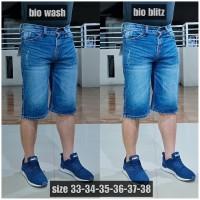 Kwalitas premium celana jeans pria pendek sobek big size