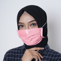 Masker Kain Hijab Tali Karet Motif Polos Warna Pink Biru Muda Hijau