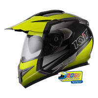 Helm KYT ENDURO #1 BLACK LIGHT YELL GUNMETAL | FULLFACE | Double Visor