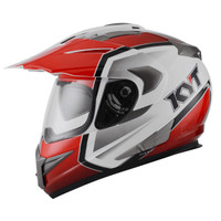 Helm KYT ENDURO #1 WHITE RED BLACK | FULLFACE | Double Visor