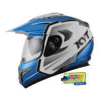 Helm KYT ENDURO #1 WHITE BLUE BLACK | FULLFACE | Double Visor