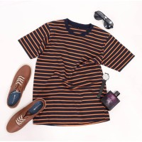 Kaos Stripe Medium Stripe Navy Orange Kaos Belang-Belang Kaos Salur