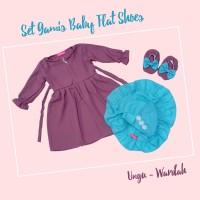 PLAIN SERIES Set Gamis Baby Flat Shoes 0-6 Bulan Baju Muslim Bayi