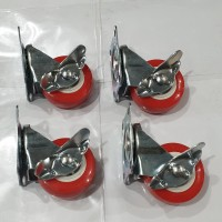 Roda Caster PVC Red Type 203 Sekrup 1 set isi 4 pc