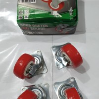 Roda Caster PVC Red Type 202 Sekrup 1 set isi 4 pc