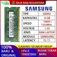 RAM LAPTOP SAMSUNG DDR3 4GB 10600/1333MHZ ORIGINAL RAM SODIMM 1.5V 4GB