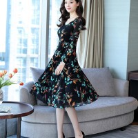 Dress Lengan Panjang V-Neck Kasual Motif Floral Gaya Korea Aneka