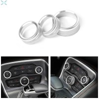 3pcs/Set AC Radio Switch Knob Trim Ring Cover Silver Decor For Dodge