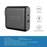WIWU POWER TURBO PT6021 - Dual USB Wall Charger PD and QC3.0 - 60W MAX